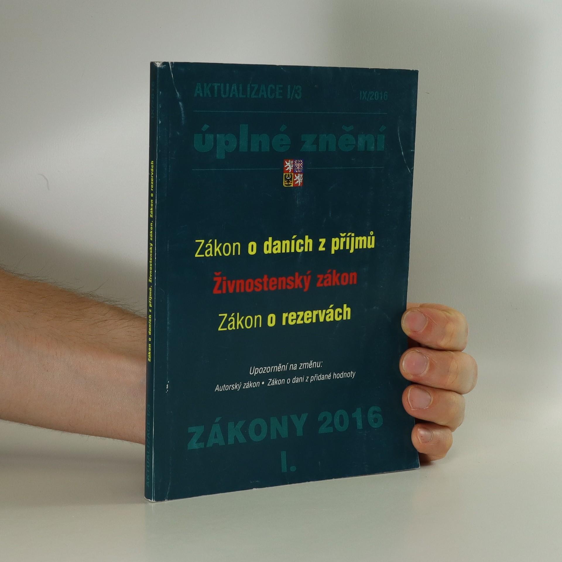 antikvární kniha Zákony 2016 I : úplné znění. Aktualizace I, 2016