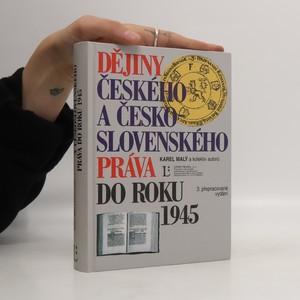 náhled knihy - Dějiny českého a československého práva do roku 1945