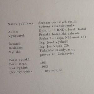 antikvární kniha Seznam cévnatých rostlin květeny československé, 1982