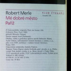 antikvární kniha Mé dobré město Paříž, 1985